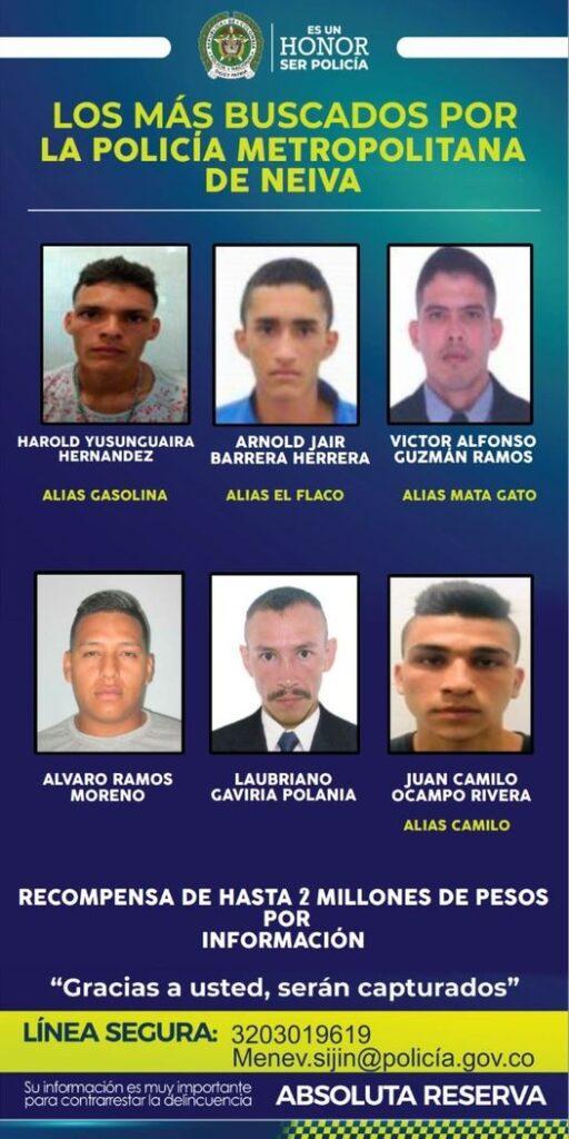 Policía metropolitana de Neiva da a conocer el cartel de los más buscados . - Noticias de Colombia